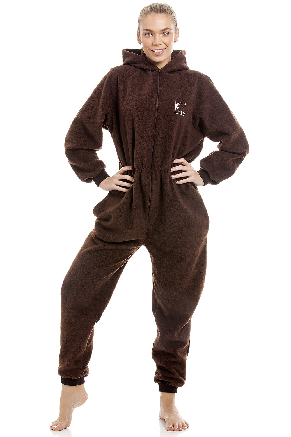 c88ae5b611 Camille Womens Brown Supersoft Fleece Zip Front Hooded Onesie