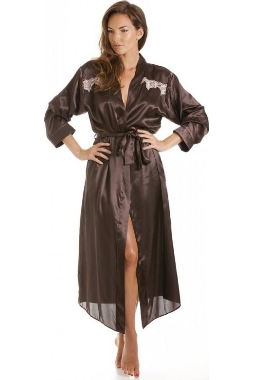 00357f1d91 Camille Womens Chocolate Brown Satin Kimono Dressing Gown