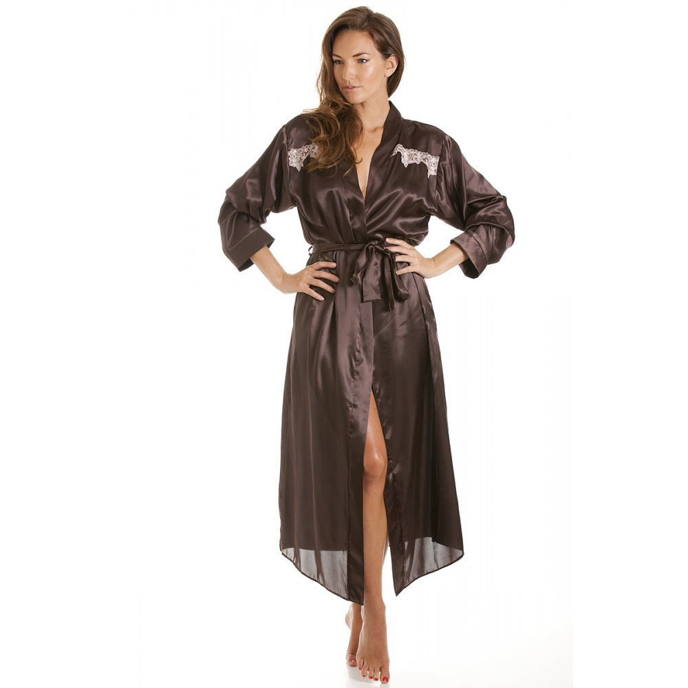Satin Dressing Gown: Womens Chocolate Brown Satin Kimono Dressing Gown