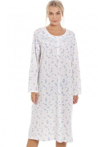 719254f764 Womens Classic Blue Rose Print Long Sleeve Nightdress