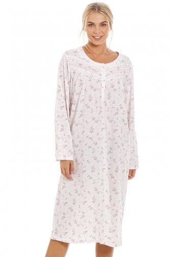 31e79511aa Womens Classic Pink Rose Print Long Sleeve Nightdress