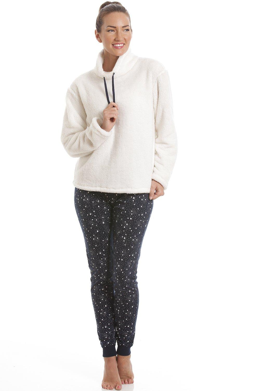 Womens cream fleece pyjama top with navy star print leggings