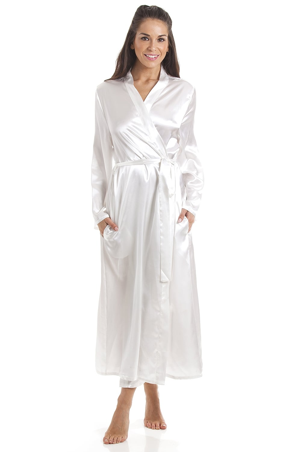 Plain Cream Luxury Satin Dressing Gown