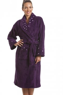 Womens Dark Purple Supersoft Fleece Heart Print Bathrobe