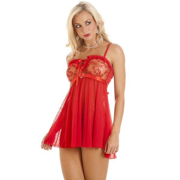 Womens Diamante Red Babydoll With Matching Thong