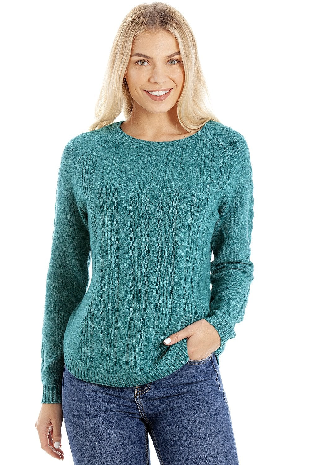 Womens Ex Highstreet Green Cable Knit Jumper