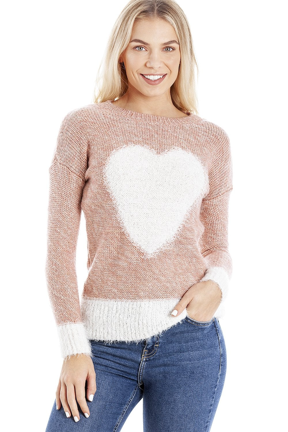 8cfe235660b6 Camille Womens Ex Highstreet Pink  amp  White Heart Knitted Jumper