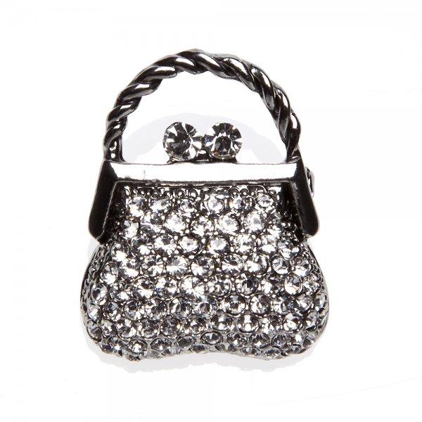 Camille Womens Fashion Jewellery Silver Tone Clear Diamante Handbag Brooch  Pin