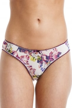 Womens Florence Cream And Aubergine Floral Briefs