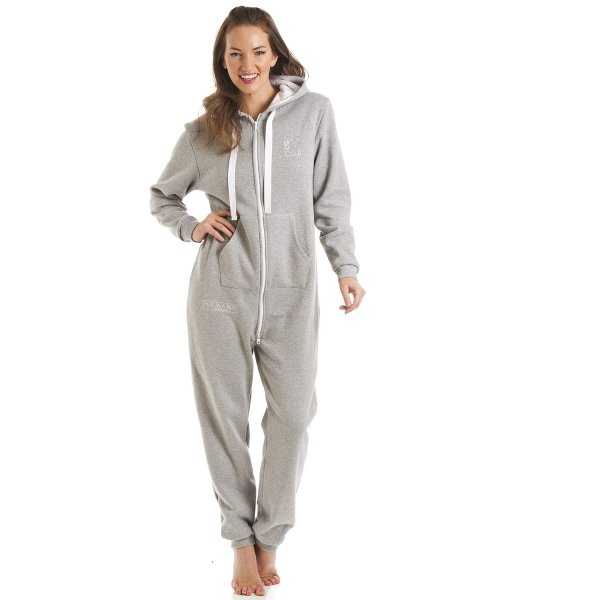 898e899a0d1b Camille Womens Fox In A Box Grey Hooded Onesie Jumpsuit