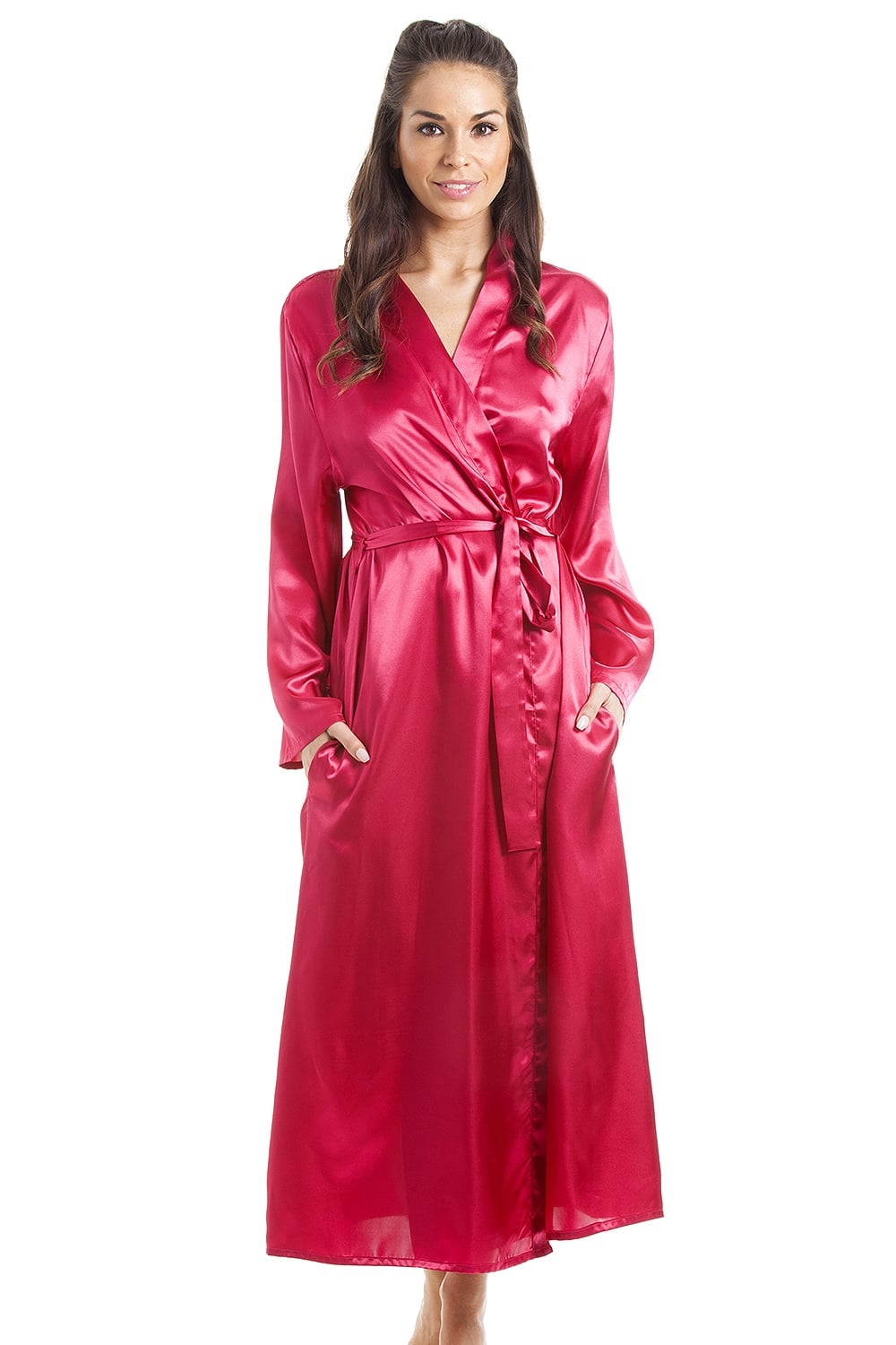Womens Fuscia Pink Luxury Satin Dressing Gown