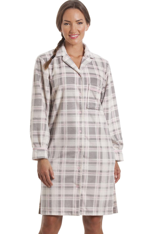 95c0fd58252a Womens Grey Checkered Fleece Button Front Nightshirt