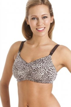 Womens Grey Leopard Print Maternity And Nursing Breast Feeding Bra