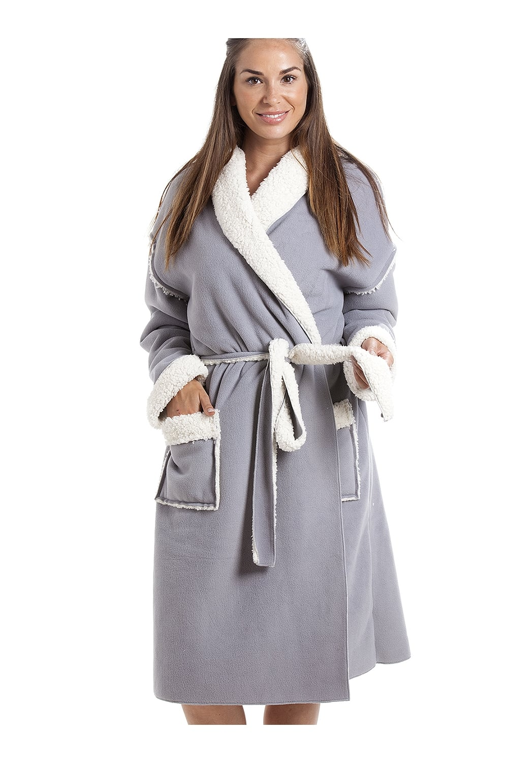 580ba9f8064d1 Camille Womens Grey Stay Soft Bonded Fleece Dressing Gown