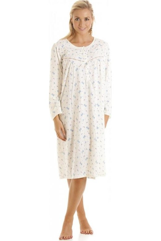 Camille Womens Ivory and Blue Floral Print Long Sleeve Nightdress