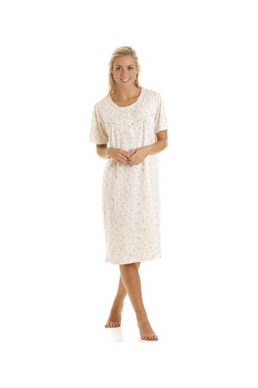 Camille Womens Ivory And Pink Short Sleeved Floral Print Nightdress