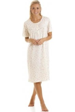 Womens Ivory And Pink Short Sleeved Floral Print Nightdress