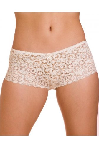 Womens Ivory Charisma Floral Lace Mesh Boxer Shorts