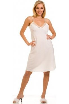 Womens Ivory Knee Length Full Slip