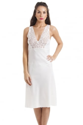 Womens Ivory Nightwear Chemise Full Slip