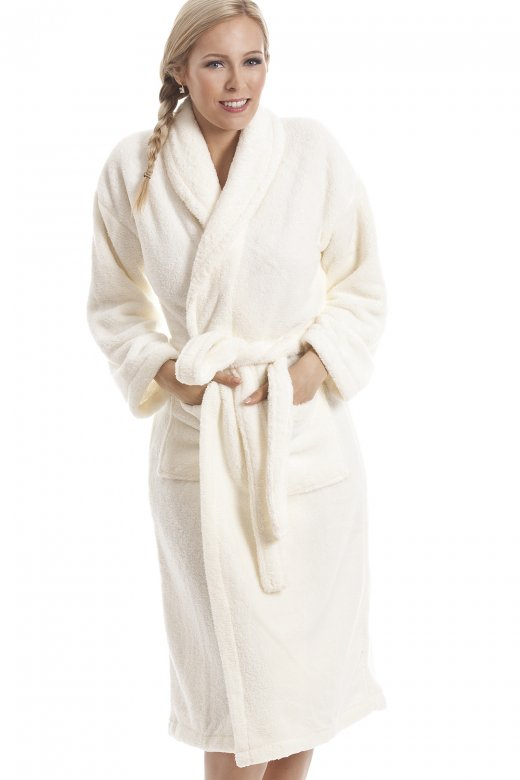 Womens Ivory Supersoft Fleece Glitter Effect Bathrobe