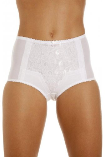 Womens Lace Control Shapewear Briefs In White Size 10-24