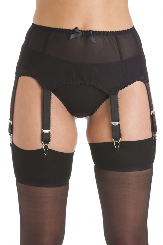 Womens Ladies Black 6 Strap Mesh Suspender Belt