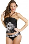 Womens Ladies Black And White Floral Print Bandeau Halter Neck Tankini Top