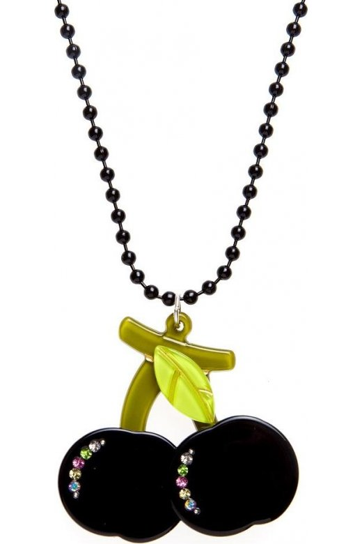 Womens Ladies Black Beaded Chain Necklace With A Black Cherry Charm And Diamantes