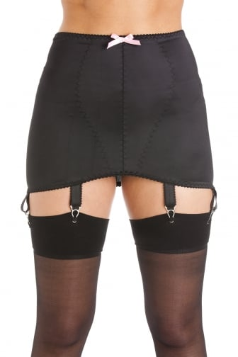 Womens Ladies Black Satin Girdle Suspender Belt 6 Strap