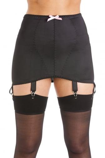Womens Ladies Black Satin Girdle Suspender Belt 6 Strap