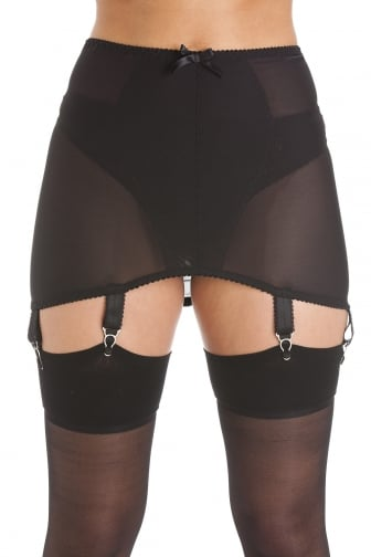 Womens Ladies Black Stretch Mesh Girdle Suspender Belt 6 Strap