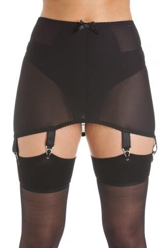 Womens Ladies Black Stretch Mesh Girdle Suspender Belt 6 Strap