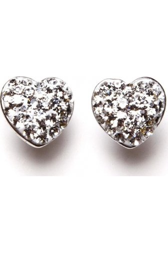 Womens Ladies Clear Diamante Heart Silver Plated Stud Earrings