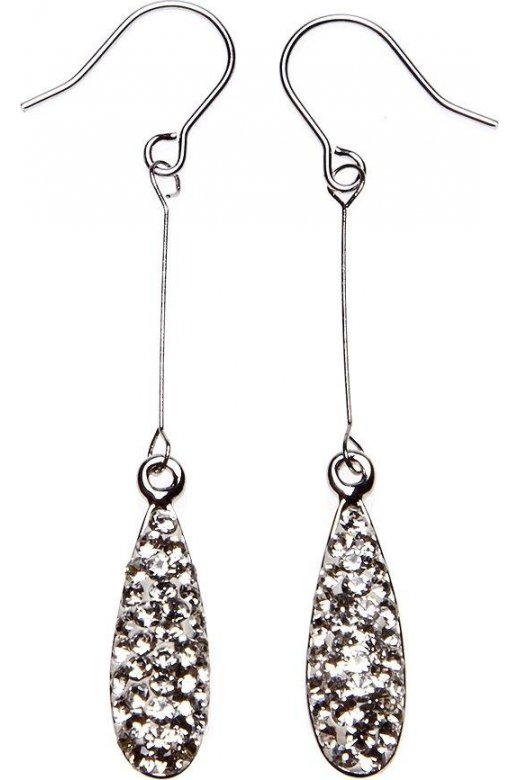 Camille Womens Ladies Clear Diamante Tear Drop Silver Plated Earrings