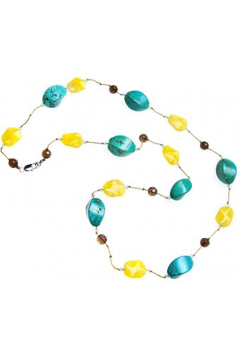 Womens Ladies Fashion Jewellery Aqua And Yellow Glass Bead Stone Necklace
