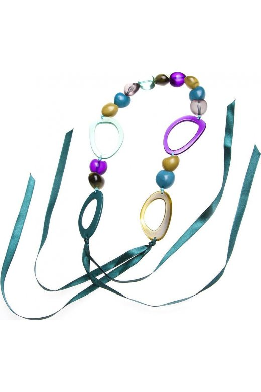 Womens Ladies Fashion Jewellery Green Bead And Purple Hoop Ribbon Necklace