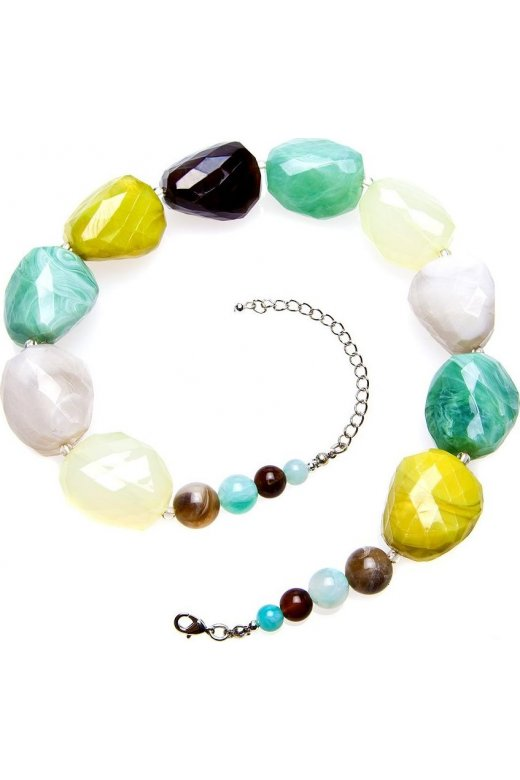Camille Womens Ladies Fashion Jewellery Lime Green And Aqua Stones Necklace