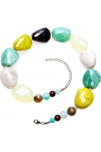 Womens Ladies Fashion Jewellery Lime Green And Aqua Stones Necklace