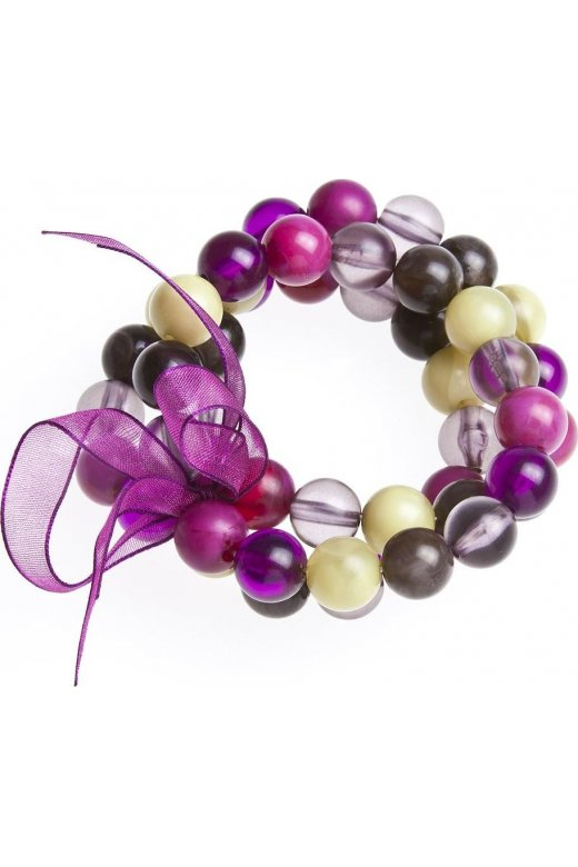 Womens Ladies Fashion Jewellery Pink And Purple 3 String Bead Adjustable Stretchy Bracelet Bangle