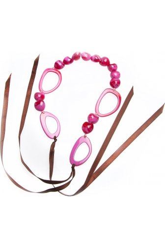 Womens Ladies Fashion Jewellery Pink Bead And Hoop Ribbon Necklace