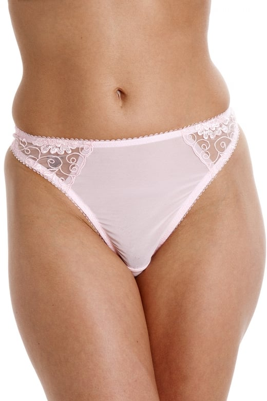 Womens Ladies Florence Embroidered Underwear Thong Pink