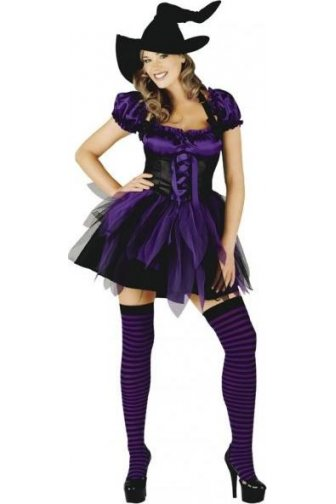 Womens Ladies Funky Purple Witch Outfit Seductive Sexy Fancy Dress Costume