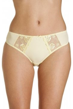Womens Ladies Lemon Yellow Jessica Lace Embroidery Underwear Briefs