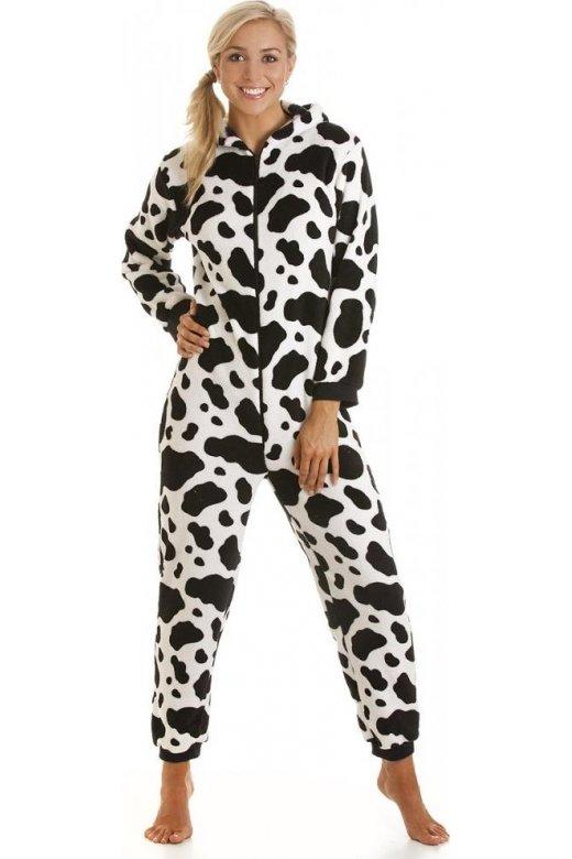 Womens Ladies Luxury All In One Black And White Cow Print Onesie Fleece Pyjama 822