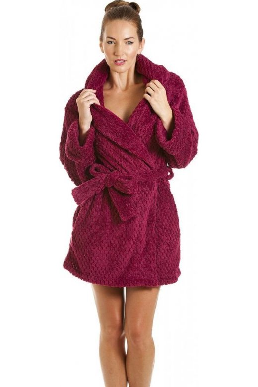 Camille Womens Ladies Luxury Burgundy Soft Jacquard Waffle Bathrobe
