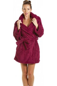 Womens Ladies Luxury Burgundy Soft Jacquard Waffle Bathrobe