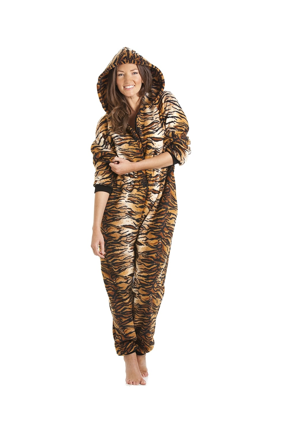womens ladies luxury gold and brown tiger print hooded all in one onesie pyjama sizes 10 32. Black Bedroom Furniture Sets. Home Design Ideas