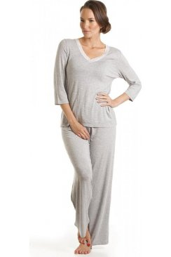 Womens Ladies Luxury Grey Pyjama Set