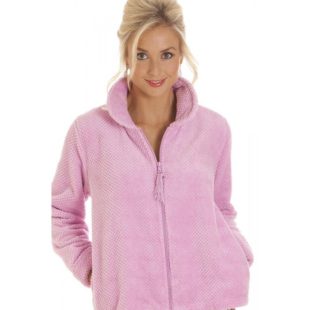 omens Zip Front Soft Fleece Bed Jacket